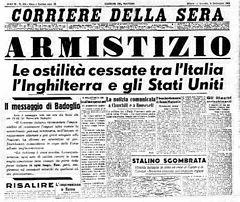 L'8 settembre del 1943 l'Italia a Cassibile firma l'armistizio